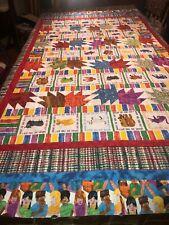 Child's twin bedspread cotton quilt top children/animals theme w/ bear paw sqrs