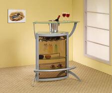 Metal Frame Mini Wine Bar Home Dining Furniture w/ Foot Rail & Stemware Storage