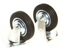 4'' CASTER WHEELS WITH BEARINGS RUBBER 8 pcs SET 4pc SWIVEL 4pc FIXED  metal rim
