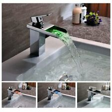 Cascada Color Changing LED Waterfall Bathroom Sink Faucet - HDD721 Chrome Finish