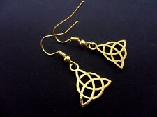 A PAIR OF CUTE LITTLE GOLD COLOUR CELTIC KNOT  DANGLY EARRINGS. NEW.