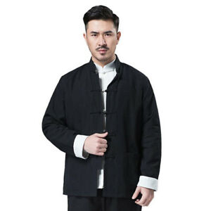Men Traditional Chinese Tang Suit Bruce Lee Kung Fu Jacket Coat Wingchun Uniform