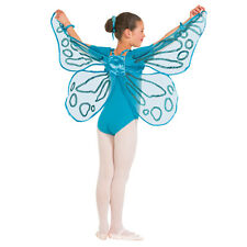 Turquoise Blue Floaty Glitter Fairy Wings - Butterfly Dance Costume