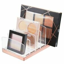 mDesign Plastic Makeup Organizer for Bathroom, 5 Sections - Clear/Rose Gold