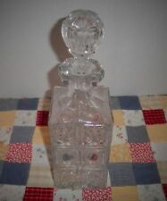 VINTAGE CRYSTAL PRESSED ETCHED GLASS WHISKEY/SPIRITS DECANTER
