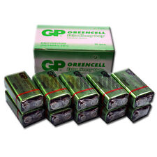 PACK OF 10 GREENCELL PP3 BATTERIES.  SEALED 9V PP3 SQUARE TYPE BY GP BATTERIES