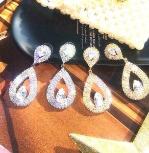 Very Sparkling Diamante Rhinestone Silver Or Gold Long Drop Bling Earrings *UK**