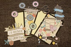 Sewing crafting  scrapbook page set photo mats and printed die cuts set #339