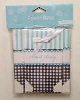 SWEET BABY SHOWER FAVOR BAGS MINI BOXES 12 Pack Blue Fold Over With Ribbon