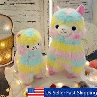 3 Size Rainbow Alpaca Plush Soft Stuffed Animal Cute Doll Baby Kid Play