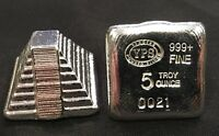 "5oz YPS ""Aztec Pyramid"" 999+ fine silver bullion bar ""Yeager's Poured Silver"""