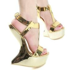 Sexy Ladies Wedge Heelless Platform Buckles Peep Toe Sandals Nightclubs Shoes L