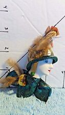 Brooch/Pin, Woman's Fashion, Profile, Handmade, Green Hat &Feather