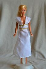 Vintage Barbie Clone White Gown Dress with Gold Trim