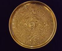 """VINTAGE AZTEC CALENDAR BRASS WALL HANGING PLATE,  6 3/4"""" DIAMETER"""