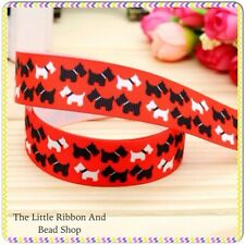 "✂ 1m grosgrain 7/8""( 22mm) BLACK AND WHITE TERRIER DOG (RED) printed ribbon"