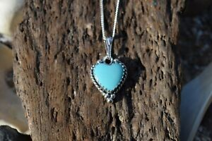 NATIVE AMERICAN 925 STERLING SILVER TURQUOISE HEART GEMSTONE NECKLACE