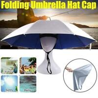 Portable Foldable Rain Sun Umbrella Head Hat Fishing Camping Headwear Cap Useful