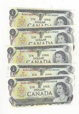 **1973**5 X Canada $1 Note Crow/Bouey # BCM6180498/99/00,BC-46b 3 Seq.Notes 2xtr