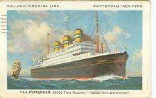 HOLLAND AMERICAN LINE ADV  TSS STATENDAM CRISTOBAL CANAL ZONE 1930(OC17)