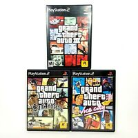 GTA Grand Theft Auto III, Vice City, San Andreas PS2 Video Games Bundle Lot of 3