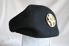 Military Army Women Wool Beret Cap Brass Badge Soldier Hat WOOL Black Type II