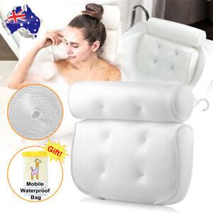 Spa 3D Mesh Bath Pillow Neck Back Support Bathtub Tub Cushions Suction Cups Hook