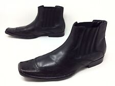 Men's Guess GM SERGIO Slip On Black Leather Casual Fashion Ankle Boots Sz. 12 D