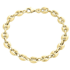 Real 10K Yellow Gold Fancy 3D Hollow Puff Gucci Link 6.50mm Bracelet 7- 8 Inch