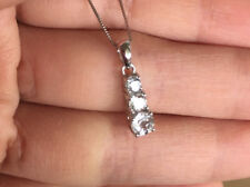 10k White Gold Natural Topaz Three Stone Pendant Necklace Box Chain