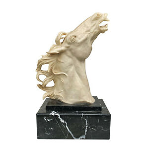 Vintage Italian Art Deco Alabaster Horse Head Sculpture on Marble Base