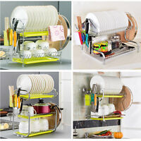 Dish Rack Drying Holder Tray Kitchen for Cup Plates Cutlery Drainer