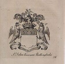 1779 antica stampa ~ St John ~ Stemma di Famiglia Stemma VISCONTE Bolingbroke