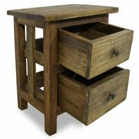 Solid Reclaimed Wood Nightstand w/2Drawers Bedside Sofa End Table Cabinet USA