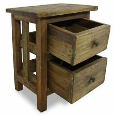 Vintage Solid Reclaimed Wood Nightstand w/ 2 Drawers Bedside Table Cabinet Retro