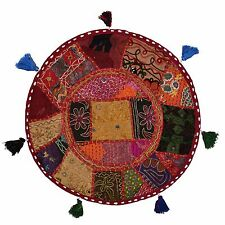 Round Bohemian Floor Cushion Seating Embroidered Indian Decor Floor Pillow Cover