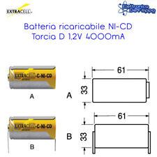 BATTERIA RICARICABILE NI-CD TORCIA D 1,2V 4000mA SENZA LAMELLE