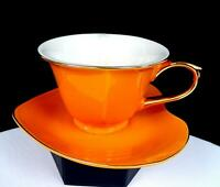 "CLASSIC COFFEE & TEA CHINA PORCELAIN HEART SHAPED ORANGE 2 1/2"" CUP AND SAUCER"