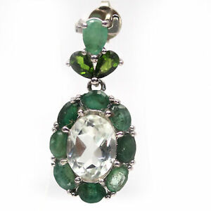 NATURAL 7 X 10 mm. GREEN AMETHYST, EMERALD & CHROME DIOPSIDE 925 SILVER PENDANT