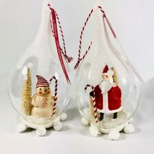 Santa and Snowman Cloche Red and White 7 x 4 Glass Christmas Ornaments Set of 2