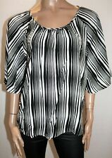 TARGET Brand Black White Striped Flutter Sleeve Blouse Top Size 14 BNWT #RE50