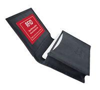 Black RFID Blocking Leather Pocket Credit Card ID Business Case Men's Wallet