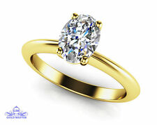1.30ct White Oval Cut Simulated Diamond 10KT Yellow Gold Wedding Engagement Ring