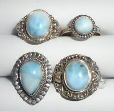 FOUR LARIMAR CABOCHON RINGS 925 STERLING SILVER SIZES 7 & 8