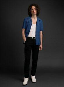 Mens Blue Animal Print 70s Cuban Collar Shirt Rock n Roll Shirt by Phix