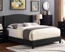King Size Wingback Platform Bed Frame w/Trim Headboard Charcoal Upholstered Beds