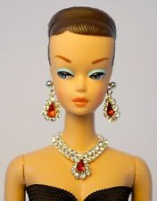 Barbie Repro Vintage FR Handmade Necklace Earrings Rhinestone Jewelry NE1367