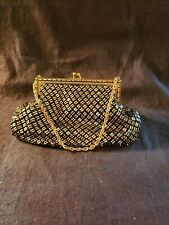 Vintage WHITING & DAVIS CO. Gold and Black Mesh Evening Bag or Purse Sweet