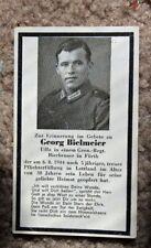 German WW II death card for NCO Georg  Bielmeier a Brewer from Furth