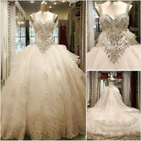 Straps Luxury Sweetheart Customed crystals cathedral wedding bridal dress gown